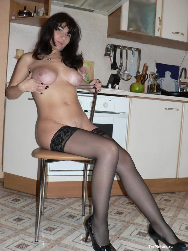 Naked wife in black stockings can not live without sex 1 photo