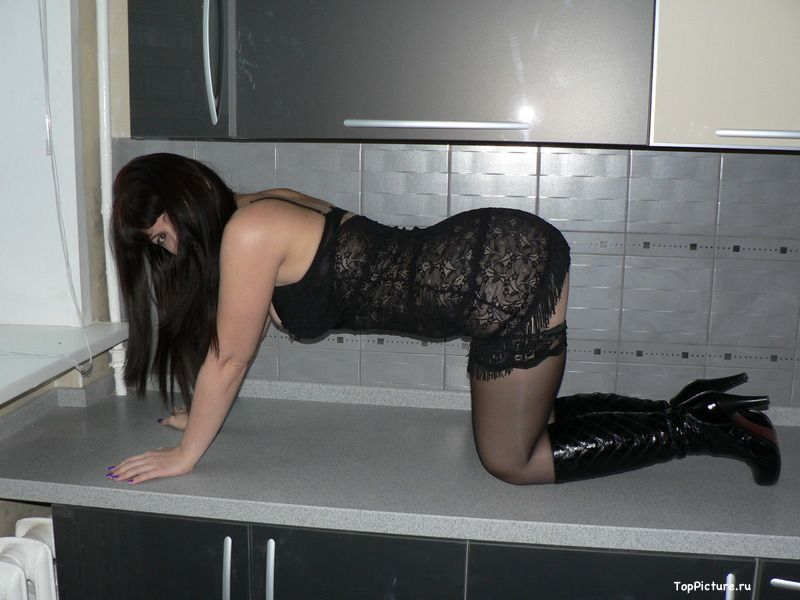 Naked wife in black stockings can not live without sex 3 photo